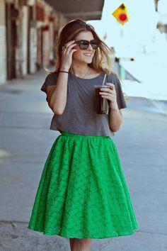 Grey cropped t-shirt + green midi skirt