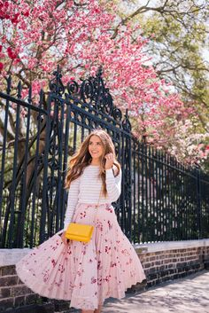 Gal Meets Glam April Flowers - Club Monaco sweater, Red Valentino skirt c/o, Chloe flats & Chanel bag