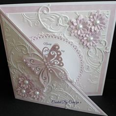 making embossed cards Fancy Fold Cards, Folded Cards, Pretty Cards, Cute Cards, Wedding Anniversary Cards, Wedding Cards, Happy Anniversary, Envelopes, Embossed Cards