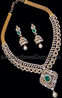 Jewellery British Spelling whenever Malabar Gold Simple Diamond Necklace Designs With Price till Diamond Necklace Set For Sale long Elegant Diamond Necklace Set Diamond Necklace Set, Diamond Jewelry, Emerald Diamond, Indian Wedding Jewelry, Bridal Jewelry, Bridal Necklace, Pearl Necklace, India Jewelry, Fine Jewelry