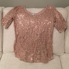 Sequin top Tan top with sequins; great for the holidays or New Years! Banana Republic Tops Blouses