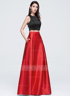 A-Line/Princess Scoop Neck Floor-Length Satin Prom Dress (018070369)