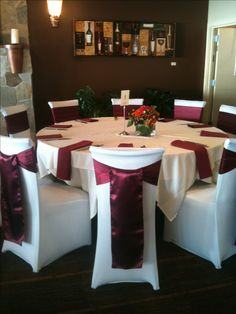 Burgundy Wedding Chair Sashes