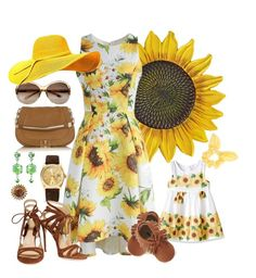 """""""Sunflower Mother and Daughter matching outfits"""" by velvy on Polyvore featuring Anya Hindmarch, Tarina Tarantino, Rolex, Chicwish, Old Navy, Dorothy Perkins and Chelsea Paris"""