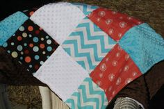 Patchwork Chevron Dandelion Dots and Minky by DesignsbyChristyS, $60.00