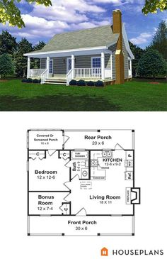 Cabin Style House Plan - 1 Beds 1 Baths 600 Sq/Ft Plan - House Plans, Home Plan Designs, Floor Plans and Blueprints Tyni House, Tiny House Living, Loft House, Living Room, Apartment Living, Living Area, Cabin Floor Plans, Tiny House Plans, 1 Bedroom House Plans