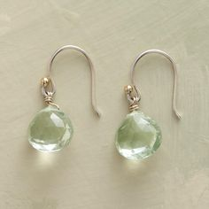 "DAZZLE DROP EARRINGS -- Countless facets elevate these gems from mere sparkling to dazzling in this pair of dangling green amethyst earrings. Sterling silver French wires tipped with an 18kt gold bead. Handcrafted exclusively for Sundance. Approx. 7/8""L."