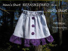 Cute Button Shirt to Skirt | FaveCrafts.com