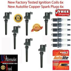 Ignition coil 6pc fd502 spark plug 6pc Autolite 103 spark plug-12pc kit Mercury #USAftermarketBrandcoilAutolitesparkplug