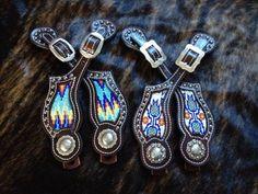 Crawford Custom Leather Aztec Beaded Spur Straps