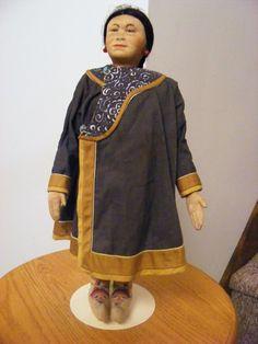 """Rare Antique Pre 1920's 14 1/2"""" Russia Russian Stockinette Oroch Woman Doll tag #Allclothdoll"""