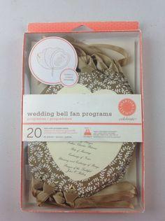 Martha Stewart Celebrate Wedding Bell Fan Programs 20 With Printable Labels #MarthaStewart