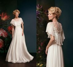 Delicate Streaming Chiffon Wedding Dresses A Line Classical Hand Made Flowers With Beaded Bridal Gowns Sexy See Through Backless ZC from Engerlaa,$141.62 | DHgate.com