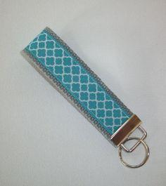 Chevron Key FOB / KeyChain / Wristlet    blue turquoise by Laa766, $6.50