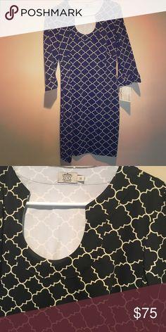 Katherine Way Naples Dress 3/4 sleeves - Black and Off White Dresses Midi