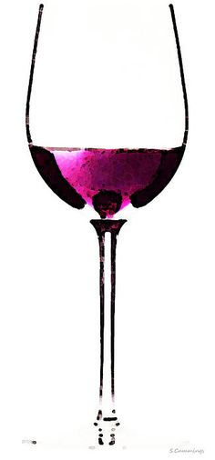Abstract Red Wine Glass 2 Painting by Sharon Cummings - Abstract Red Wine Glass 2 Fine Art Prints and Posters for Sale