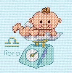 """""""Libra"""" counted cross-stitch pattern by Maria Diaz Designs. Baby Cross Stitch Patterns, Tiny Cross Stitch, Cat Cross Stitches, Cross Stitch Letters, Cross Stitch Books, Beaded Cross Stitch, Cross Stitch Charts, Cross Stitch Designs, Cross Stitching"""