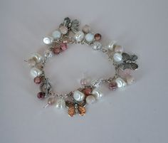 Apple Blossom Charm Bracelet by KateMaderDecor on Etsy White Beads, Silver Beads, Sparkle, Feminine, Charmed, Apple, Bracelets, Pink, Color