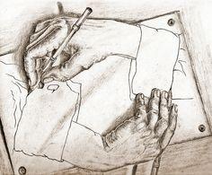 """Versión del original """"Manos Dibujando"""" de M. C. Escher"""