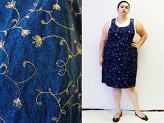 Plus Size - Vintage Denim Floral Embroidered Pinafore Jumper Dress by TheCurvyElle, $45.00