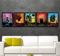 Studio Ghibli Minimalist Poster Set, Prinzessin Mononoke, Moving Castle, das Schloss im Himmel, temperamentvoll entfernt, Totoro, Miyazaki, japanischer Film