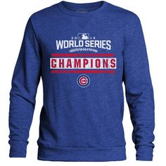 Chicago Cubs Majestic Threads 2016 World Series Champions Tri-Blend Crew Sweatshirt - Royal