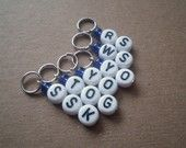 Knitters Helper ssk, yo, tog, ws, rs stitch markers for knit custom request welcome more sizes/colors. $6.75, via Etsy.