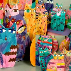 Third grade is crazy over their cats! These are Laurel Burch inspired stuffed…