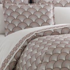JONATHAN ADLER FISH SCALES FULL / QUEEN DUVET & 4 SHAMS ~ NEW ~ BROWN / CORAL  #JONATHANADLER