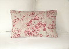 Cabbages and Roses - Constance Raspberry Red - Cottage Chic Floral -  Designer Linen  Cushion / Decorative Lumbar Throw Pillow Cover