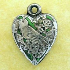 Antique Victorian PUFFY HEART Charm LUCKY SWALLOW Forget Me Not Flower MB