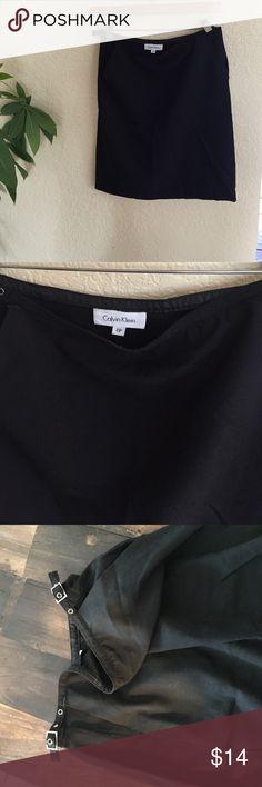 Vintage Calvin Klein Black midi pencil skirt 2P Vintage 90s black Calvin Klein midi pencil work skirt business casual professional small tear near buckle - easy seeing fix Calvin Klein Skirts Midi