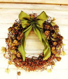 RUSTIC FALL Wreath-Holiday Door Wreath-Woodland Wedding Decor-Scented Vanilla Cinnamon-Choose your Scent and Ribbon. $60.00, via Etsy.