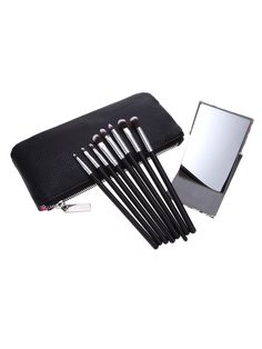 8pcs Eye Brush PU Bag Set With Mirror