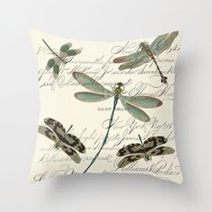 Throw Pillow Cover - Dragonflies on Vintage Ephemera - 16x16, 18x18, 20x20 - Pillow case Original Design Home Décor by Adidit by adidit on Etsy https://www.etsy.com/listing/66045815/throw-pillow-cover-dragonflies-on