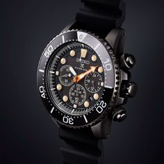 "Seiko have presented the limited edition Black Series from their popular Propex line of diver watches. The Seiko Prospex Black Series features three blacked-out watches: the automatic Turtle"" the solar-powered chronograph Sport Watches, Cool Watches, Watches For Men, Black Watches, Cheap Watches, Casual Watches, Wrist Watches, Mens Designer Watches, All Black Fashion"