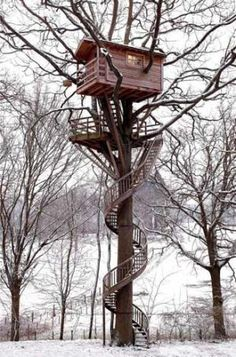 "tinyhousesmallspace: ""Tree House w/ a spiral staircase """