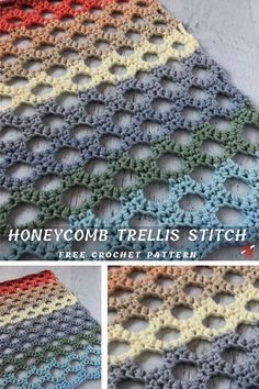 Honeycomb Trellis Crochet Stitch Tutorial This is amazing stitch and works very well in a variety of Crochet Simple, Love Crochet, Crochet Hooks, Crochet Stitches Patterns, Knitting Stitches, Stitch Patterns, Crochet Stitches For Beginners, Beginner Crochet Projects, Baby Blanket Crochet