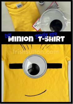 Minions are EVERYWHERE. People seem to be crazy about the little creatures… Diy Minion Costume, Minion Halloween, Minion Party, Halloween Fun, Halloween Makeup, Minion Theme, Haunted Halloween, Vintage Halloween, Disney Characters Costumes