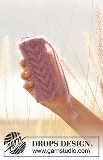 """Knitted DROPS cell phone cozy in 2 strands """"Kid-Silk"""". ~ DROPS Design"""
