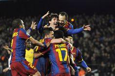 Barcelona players, Alves, Villa, Iniesta, Pedro and Messi.