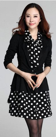 chest 100-112cm high quality XL - 4XL autumn 2015 office women dress long sleeve large size black white dot midi ball gown lady