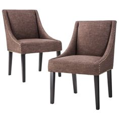 Griffin Cutback Dining Chair Set of 2 - Nailhead Smoke