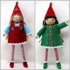 Large 6 inch Elf dolls.  Kindness Elves.  Bendable elf girls.  Handmade by www.PNTdolls.com