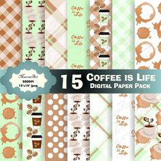 Coffee is Life Digital Paper Pack - Digital Paper, Clip art, clipart Birthday Card Pop Up, Art Birthday, Boy Birthday Parties, Image Paper, Christmas Ornaments To Make, Coffee Is Life, Beatrix Potter, Party Packs, Printable Paper