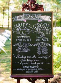 Personalized Wedding Chalkboard Display See more here: http://countrybarnbabe.com/products/wedding-chalkboard-display
