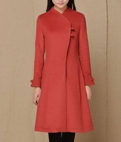Streamline Plait Button Wool Coat Womens Outerwear by zeniche, $107.00