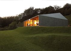Mottled grey tiles envelop this angular house in the Swiss Alps.