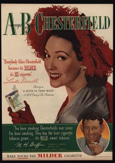 1949-LINDA-DARNELL-Actress-Woman-039-s-Hat-CHESTERFIELD-Cigarettes-VINTAGE-AD