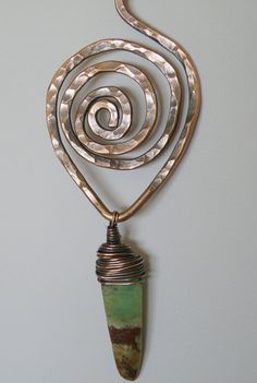 Great hammered wire spiral pendant bail.